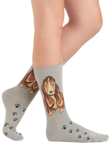 The Socks and the Hound - Grey, Multi, Print with Animals, Casual, Quirky, Knitted