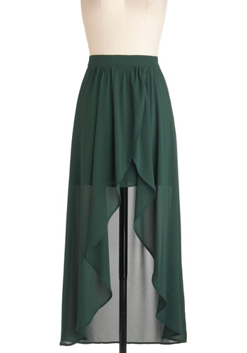Debut Novella Skirt - Green, Solid, High-Low Hem, Party, Holiday Party, Urban