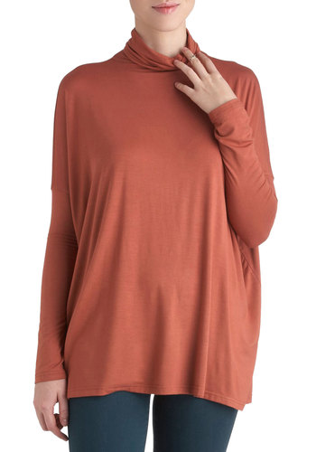 Flying Through To-Dos Top - Mid-length, Orange, Solid, Casual, Long Sleeve, Fall