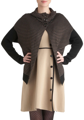 This Bold House Cardigan - Mid-length, Brown, Black, Herringbone, Buttons, Long Sleeve, Fall, Casual, Menswear Inspired, Vintage Inspired
