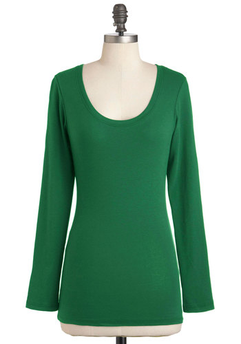 Lay the Foundation Top in Emerald - Green, Solid, Casual, Long Sleeve, Minimal, Mid-length
