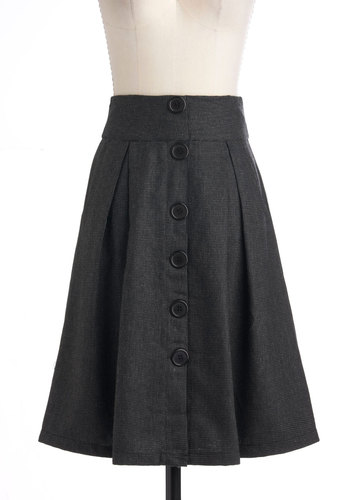 A-line Through Time Skirt - Grey, Solid, Buttons, Work, A-line, Pleats, Pockets, Long
