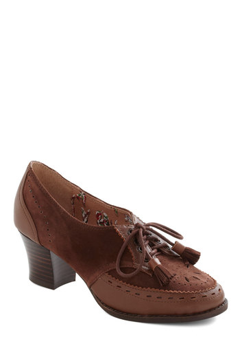 Chocolate Praline on Me Heel by Miss L Fire - Low, Leather, Brown, Tassels, Menswear Inspired, Lace Up, Chunky heel