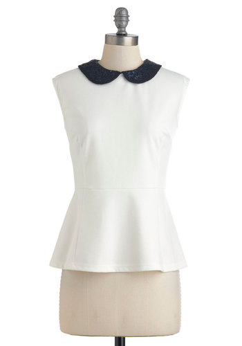 Casting Collar Back List Top - Cream, Black, Solid, Peter Pan Collar, Sequins, Party, Work, Cocktail, Vintage Inspired, Luxe, Peplum, Sleeveless, Mid-length