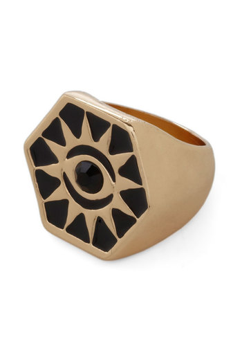 Sunburst onto the Scene Ring - Black, Gold, Print, Statement
