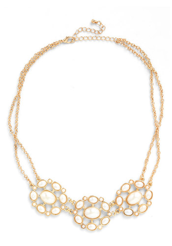 Strand and Deliver Necklace - White, Gold, Pearls, Wedding, Party, Vintage Inspired, Luxe, Graduation, 60s, Bridesmaid, Gold