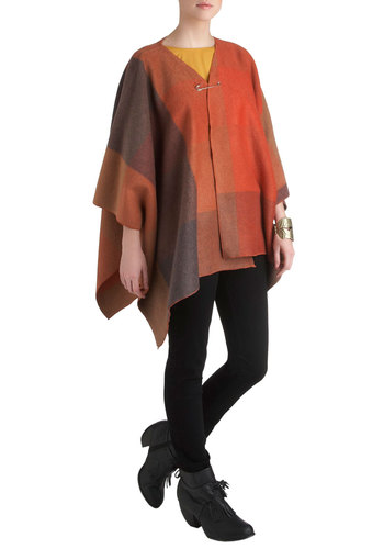 Plaid Around the Pumpkins Cape - 2, Orange, Brown, Tan / Cream, Plaid, Casual, Fall, Mid-length