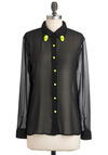 Skull Set Top - Black, Yellow, Studs, Long Sleeve, Sheer, Mid-length, Party, Statement