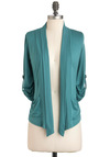 Robin's Egg Elegance Cardigan - Green, Solid, Pockets, Casual, Long Sleeve, Mid-length, Jersey