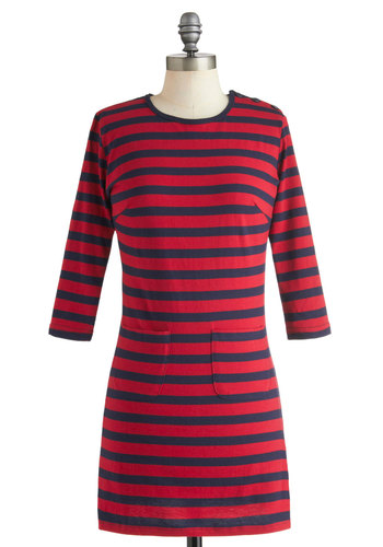 Beau Brittania Dress - Cotton, Short, Blue, Stripes, Pockets, Casual, Nautical, 60s, Mod, Long Sleeve, Fall, Red