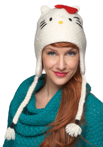 Cats Off to You Hat - White, Print with Animals, Knitted, Poms, Kawaii, Winter, Red, Yellow, Black