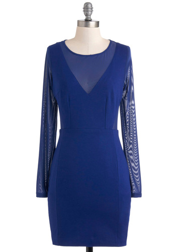 Celeb Presence Dress - Short, Blue, Solid, Backless, Girls Night Out, Shift, Long Sleeve