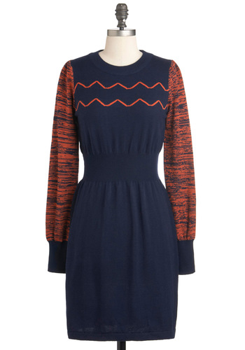 Static Character Dress - Mid-length, Blue, Orange, Casual, Long Sleeve, Fall, Sweater Dress, Holiday Sale, Crew
