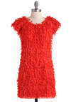 Fluttering Fun Dress - Red, Sheath / Shift, Short Sleeves, Party, Short, Flower, Girls Night Out, Statement, Mod