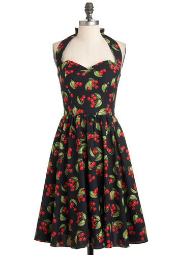 Hide in the Cherry Tree Dress - Cotton, Long, Black, Red, Green, Daytime Party, Halter, Pinup, Fruits, Variation, Party, Rockabilly, Vintage Inspired, 50s, Fit & Flare