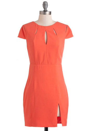 Chain of E-vents Dress - Orange, Solid, Cutout, Cap Sleeves, Short, Sheath / Shift, Party, Girls Night Out, Vintage Inspired, 60s, Neon, Mod, Coral