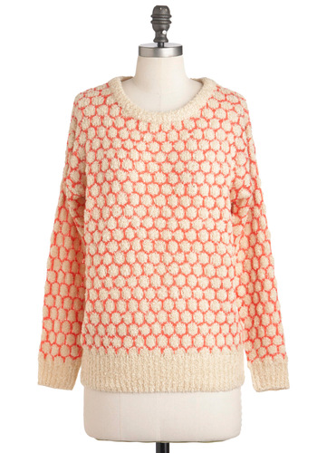 A Spot to Snuggle Sweater - Casual, Long Sleeve, Mid-length, Orange, Tan / Cream, Polka Dots, Knitted, Fall