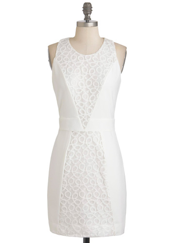 Say It Out Cloud Dress - White, Lace, Sheath / Shift, Sleeveless, Short, Exposed zipper, Wedding, Party, Graduation, Spring, Bride
