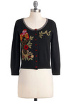 Watchful Wisdom Cardigan by Knitted Dove - Black, Multi, Buttons, Embroidery, Short, Casual, Owls, Long Sleeve, Fall