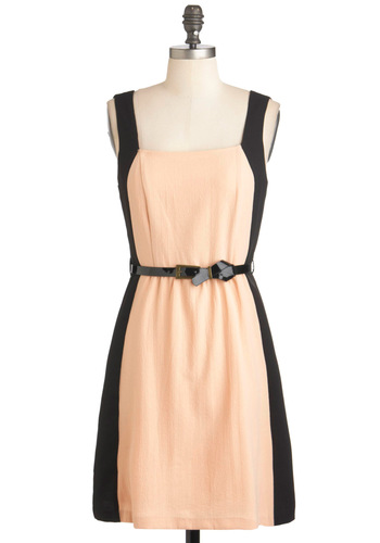 Newsworthy of Praise Dress - Black, A-line, Short, Belted, Party, Sleeveless, Pink, Vintage Inspired