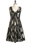 Chandelier to Stay Dress - Black, Print, Pleats, A-line, Sleeveless, Long, Silver, Red, Holiday Party