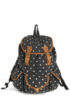 Destination Hot Spot Backpack - Black, Brown, White, Polka Dots, Pockets, Casual, 90s