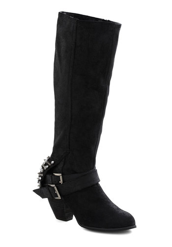 Made for More Boots - Leather, Mid-length, Black, Solid, Buckles, Studs, Urban, Party, Girls Night Out