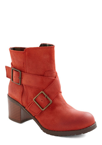Fresh Veggies Boot by BC Shoes - Leather, Mid-length, Coral, Buckles, Chunky heel, Casual, Rustic, Fall, Mid