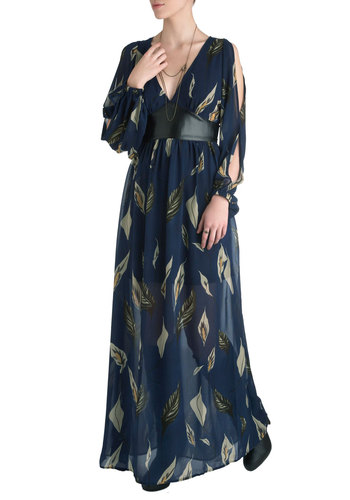 Calla-fornia Dream Dress - Blue, Black, White, Floral, Empire, Long Sleeve, Long, Party, Maxi, Boho