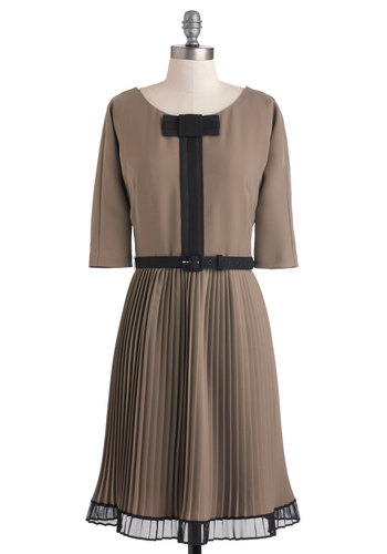 Here's to the Hostess Dress by Eva Franco - Black, Bows, Pleats, Vintage Inspired, A-line, 3/4 Sleeve, Winter, Mid-length, Belted, Cocktail, Tan