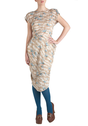 Fly the Coop Dress by Traffic People - Tan, Multi, Print with Animals, Party, Sheath / Shift, Cap Sleeves, Spring, Mid-length