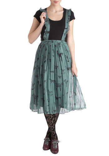 Pinafore the Occasion - Green, Print with Animals, Ruffles, Casual, A-line, Sleeveless, Quirky, Long