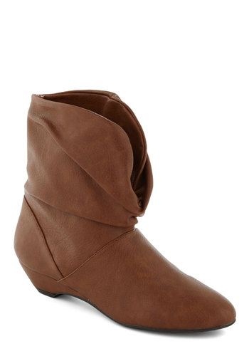 Open Mic Night Boot - Tan, Solid, Low, Wedge, Casual, Rustic