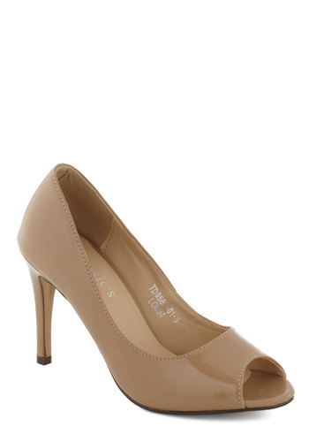 Sass in Your Step Heel in Beige - Solid, Peep Toe, Mid, Work, Tan, Holiday Party, Graduation