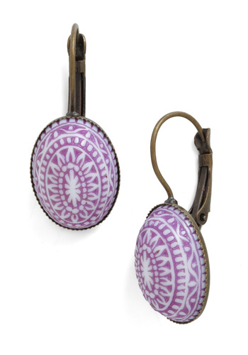 Say It Ain't Oval Earrings - Purple, White, Party