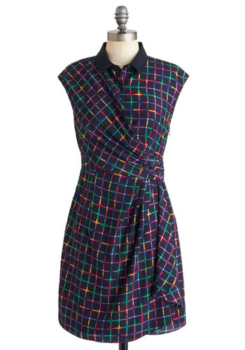 I Square a Lot Dress by Louche - Mid-length, Blue, Multi, Print, Casual, Wrap, Sleeveless, Collared, International Designer