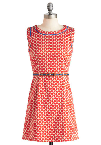 Oh My Stars Dress by Louche - Mid-length, Cotton, Tan / Cream, Print, Cutout, Exposed zipper, Belted, Casual, Sleeveless, Summer, Red, Blue, Shift, Nautical, International Designer