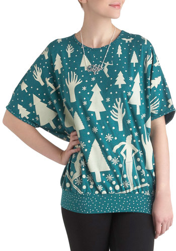 Alpine-ing for You Top - Blue, White, Casual, Short Sleeves, Winter, Holiday, Mid-length, International Designer