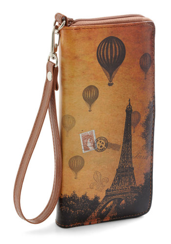 Sepia You Soon Clutch in Paris - Faux Leather, Brown, Print, French / Victorian, Graduation, Travel, Best Seller, Good, 4th of July Sale