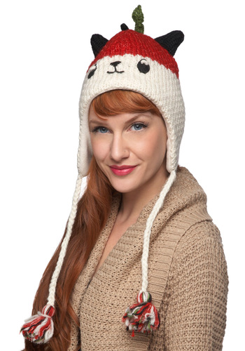 Gotta Panda to You Hat - White, Print with Animals, Knitted, Poms, Kawaii, Winter, Red, Green, Black