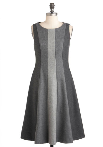 Lesson in Greyscale Dress by Eva Franco - Work, Sleeveless, Winter, Long, Grey, Tent / Trapeze