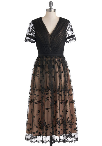 Gathered in the Garden Dress - Tan / Cream, Lace, Formal, Film Noir, Vintage Inspired, Short Sleeves, Sheer, Long, A-line, Black, Boho