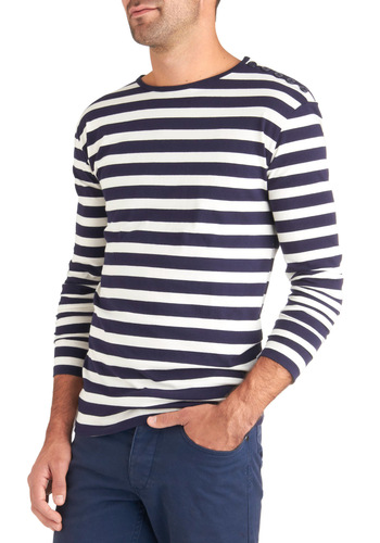 Happy Sails Men's Shirt - Cotton, Blue, White, Stripes, Buttons, Casual, Long Sleeve, Nautical, Vintage Inspired, Mid-length