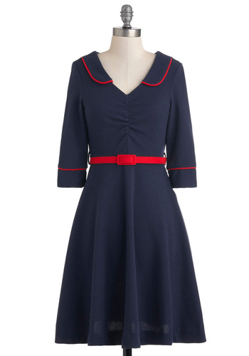 Simply Brillion Dress - Mid-length, Blue, Solid, Belted, Casual, Fit & Flare, 3/4 Sleeve, Collared, Red, Nautical, Vintage Inspired
