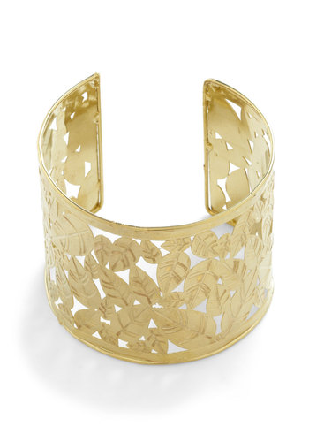 Leaf Pressing Issue Bracelet by Mata Traders - Gold, Solid, Cutout, Party, Vintage Inspired