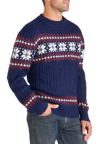 Ski What I Mean? Sweater - Mid-length, Blue, Red, White, Print, Holiday, Long Sleeve, Winter, Knitted