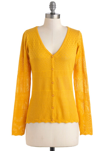 Sunny Side Wake Up Cardigan in Yellow - Yellow, Buttons, Casual, Long Sleeve, Mid-length, Solid, Variation, Travel