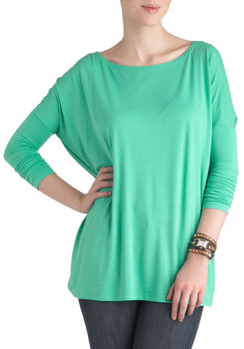 Simplicity Under the Sunrise Top in Mint - Jersey, Cotton, Green, Solid, Casual, 3/4 Sleeve, Mid-length, Mint, Travel