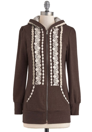 Ever So Soften Hoodie in Brown - Mid-length, Brown, White, Solid, Trim, Casual, Hoodie, Long Sleeve, Fall, Pockets, 1