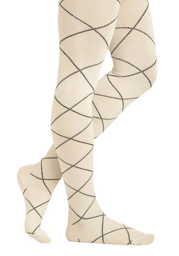Dash of Diamonds Tights - White, Black, Print, Casual, Fall, Holiday Sale